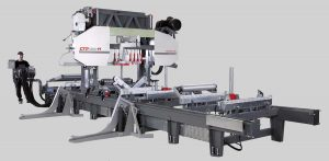 Hydraulic horizontal log band saws